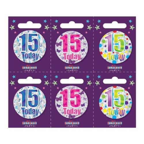 Age 15 Small Badges (6 assorted per perforated card) (5.5cm)